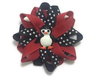 Red & Black Penguin Hair Bow, Winter Hair Bow, Loopy Hair Bow, No Slip Hair Bow, Hair Bow Clip, Handmade Hair Bow, Christmas Hair Bow