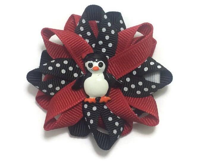 Red & Black Penguin Hair Bow