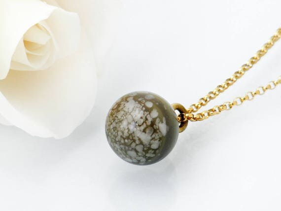 Victorian Drop Pendant | Unique Grey Green Speckled Glass 'Charm String' Necklace, Antique Glass Charm String Button Pendant - 18 Inch Chain