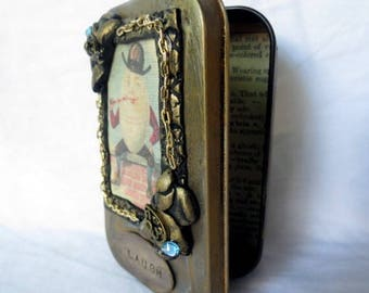 "Gift Card Holder, Altered Altoid Tin ""Laugh""  Decorative Presentation or Trinket Tin"