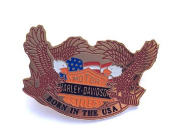 Vintage Harley Davidson Born In USA Lapel Pin