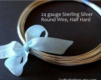 8% off SHOP-WIDE, 24 gauge Sterling Silver Wire - Round, Half HARD, solid .925 sterling, wire wrapping, precious metals