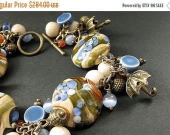 SUMMER SALE Umbrella Charm Bracelet. Lampwork Glass and Gemstone Bracelet in Blue, Tan and Bronze - Rain in the Desert. Handmade Bracelet.