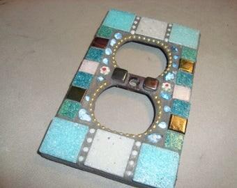 MOSAIC Electrical Outlet COVER , Wall Plate, Wall Art, Aqua, Green, Blue, Aqua, Green, Gold