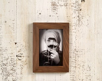 4x6 Picture Frame in 1x1 Flat Style in Solid Natural Walnut - IN STOCK - Same Day Shipping - 4 x 6 Photo Frame Brown Walnut Frame