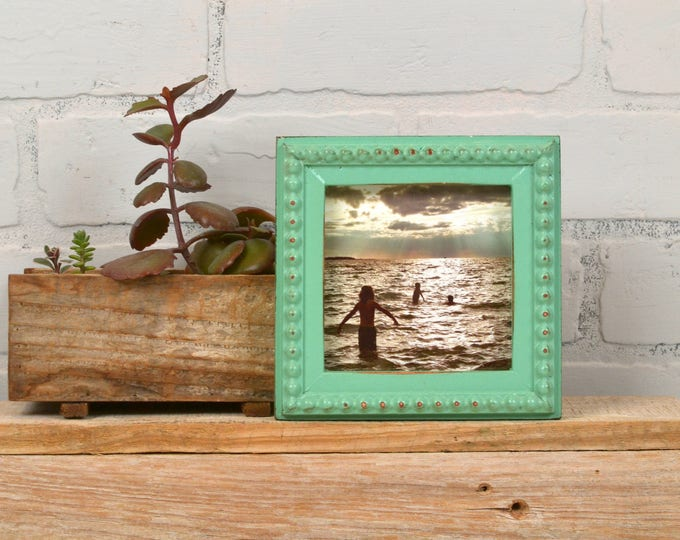 4x4 inch Handmade Square Picture Frame in Decorative Bumpy Trim Style with Vintage Robin's Egg Finish - IN STOCK - Same Day Shipping