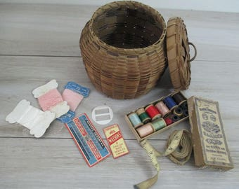 Antique Vintage Sewing Notions Wooden Spools Wicker Sewing Basket