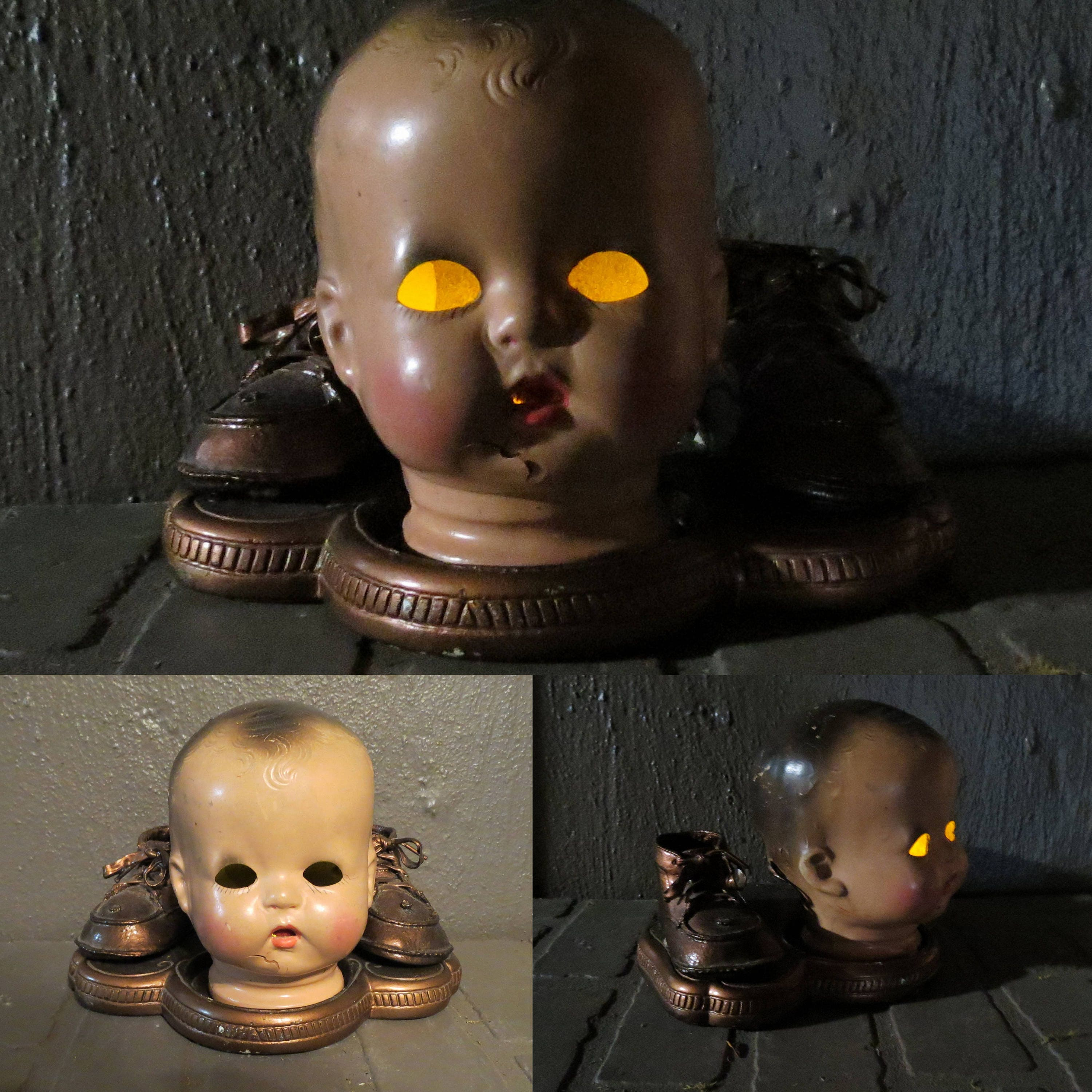 Good ON SALE Creepy Doll Head Light Up Halloween Decoration, Battery Operated  Upcycled Doll Head,