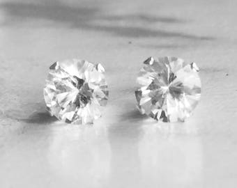 Herkimer Diamond 5mm ,90ctw Sterling Silver Gemstone Studs