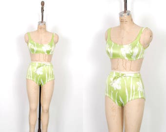 Vintage 1960s Bikini / 60s Floral Print High Waited Two Piece Swimsuit / Green and White ( small S )