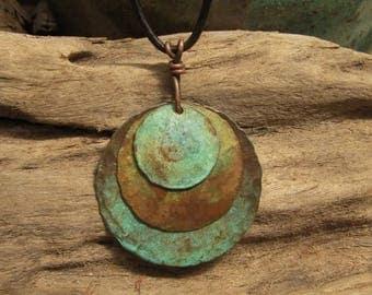 Copper Jewelry Copper Pendant Medallion Green Earth and Blue