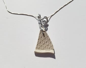 Barley Creamware Sea Pottery Necklace handmade with sterling Chain and silver aluminum bale