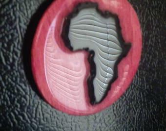 Africa Fridge Magnet Magenta Wood Color
