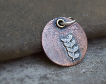 Sterling Twig Copper Artisan Finding . Pendant . Supply . Brass . Handmade Finding Supply