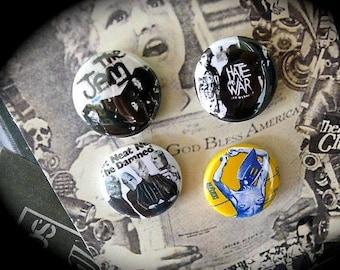 Set of 4 Pinback button Punk Rock English
