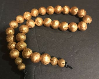 Vintage brass brushed brass beads textured Mirium Haskell reclaimed large hole beads