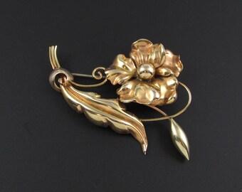 Regel 10Kt Gold Brooch, 1940s Brooch, Gold Flower Brooch, Retro Brooch, Real Gold Brooch
