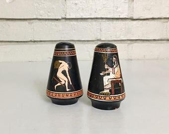 Vintage Set of Grecian Salt and Pepper Shakers // Greek Pottery