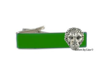 Lion Tie Clip Antique Silver Inlaid in Hand Painted Enamel Leo Zodiac Inspired with Cufflinks Set Option