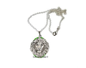 Lion Head Oval Locket in Hand Painted Green Enamel Leo Zodiac Inspired on Sterling Silver Chain with Personalized Options