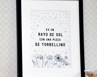 Spanish Gift for daughter with Gold, gift for granddaughter, Spanish gifts, Spanish wall art, nursery decor, spain art, spanish quote