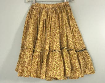 Vintage Yellow Calico Paisley Full Circle Swing Square Dancing Skirt XS
