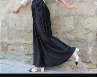 Vintage Black Satin Pleated Maxi Skirt M