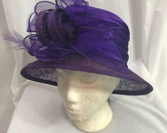 Vintage 1980s Purple Straw Derby Style Straw Church Hat