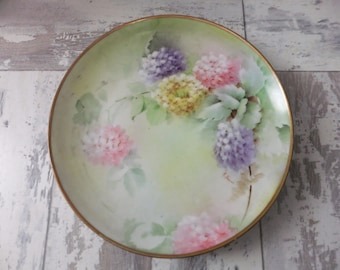 Ginori Italy Plate Signed Hand Painted Flowers Hydrangeas and Leaves Decorative Collector China Cabinet