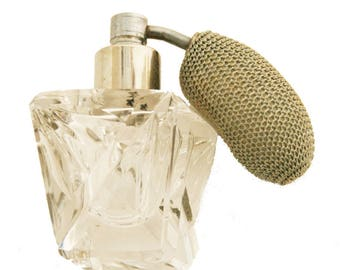 Vintage Crystal Perfume Bottle with old Cloth Atomizer   AS93