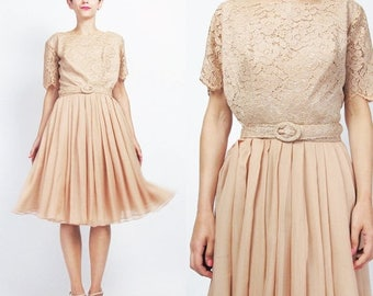25% off Summer SALE 1960s Lace Party Dress Chiffon Evening Dress Blush Nude Sheer Lace 1960s Cocktail Dress Pleated Full Skirt Short Sleeve