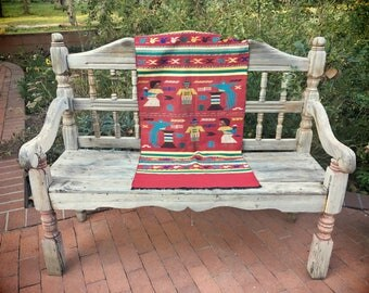Vintage 22 x 48 Mexican table runner embroidered and woven tapestry ethnic bohemian decor