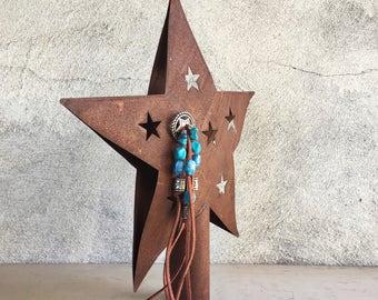 Tree Topper Star Rusty Metal, Southwestern Decor Rustic Tree Topper Primitive Christmas