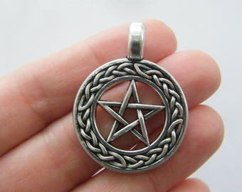 1 Pentagram celtic knot charm antique silver tone HC71
