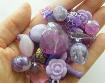 50g Mixed purple acrylic beads B181