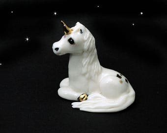 Porcelain white unicorn with 24k gold trim, hand crafted ooak by Anita Reay / unicorn totem / ceramic unicorn / unicorn figurine