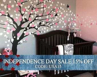 Independence Day Sale - Baby Nursery Wall Decal, Cherry Blossom Tree Decal, Tree Wall Decal, Nursery Decoration, Elegant Cherry Blossom
