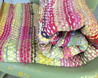Rag Rug,  Hand Woven, Cotton Knits