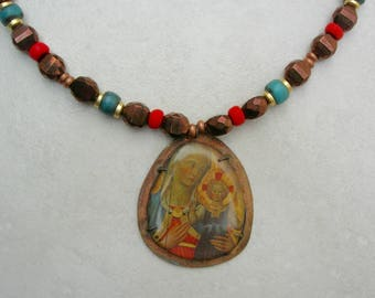 Rustic Russian Icon, Mary & Baby Jesus, Art Picture on Copper Pendant, Antique Murano Glass Beads,Gold and Copper Disks,Set by SandraDesigns