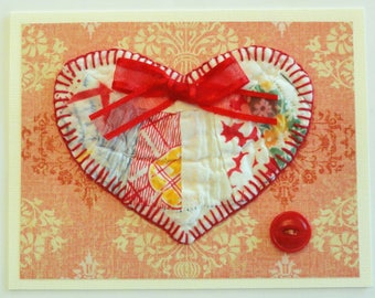 Quilt Heart note card, birthday greeting, blank card, thank you note, get well wishes, red hand stitched, patchwork heart