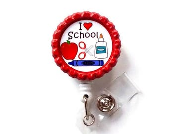 ON SALE I Love School  - Name Badge Holder - Cute Badge Reels - Teaching Badge Holder - Id Badge Reel -  School Id Badge Clip - Teacher Gift