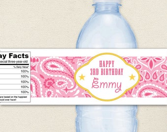 Pink Country Western Party - 100% waterproof personalized water bottle labels