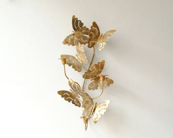 Vintage Butterfly Wall Sconce, Tole Candle Holder