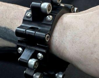Machined Aluminum Bolt Cuff - Black Anodized