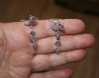 Rough & Rustic Pink Tourmaline Earrings plus Free USA Shipping!