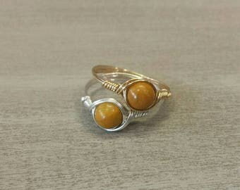 25% Off Sale Yellow Jasper Argentium Sterling Silver or 14k Yellow Gold Filled Wire Wrapped Ring
