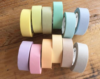 mt 2017 - Solid Pastel color Japanese Washi Masking Tapes at your choice for packaging, scrapbooking, invitation making, party decoration