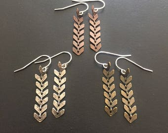 Dangle Earrings - available in antique gold, silver and NOW copper, short or long - select options in dropdown menu