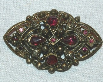 Antique Victorian Brooch,  Amethyst Rhinestone Brooch, C Clasp Gold, Vintage old jewelry