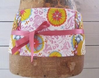 """Obi fabric, mini-corset """"sakura"""" pink and yellow patchwork belt"""